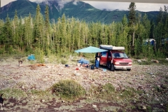 Camp Kitchen set up McCarthy. Tents at some distance from food because of bears