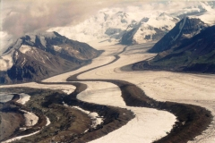 Aerial view of Kennicot glacier and moraines