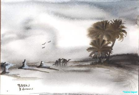 Charcoal sketch by artist Badr in Egypt's Western desert 3 dreams