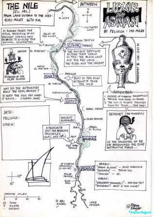 Hand drawn map of the Nile Luxor to Aswan ©Steve Edgar