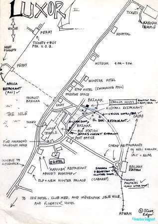 Hand drawn map of Luxor ©Steve Edgar