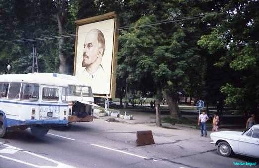 Broken down bus in front of Lenin