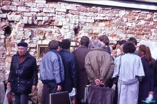 Customers at private art sale Arbatskaya Moscow