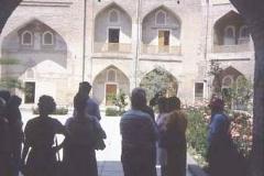 Visitors to elaborate Islamic architecture
