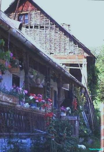 An elderly crofter's verandah and barn, near Aggtelek, Zemplen mountains, Hungary