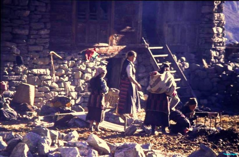Getting-organised-for-a-bit-of-weaving-in-the-courtyard-Langtang-Nepal