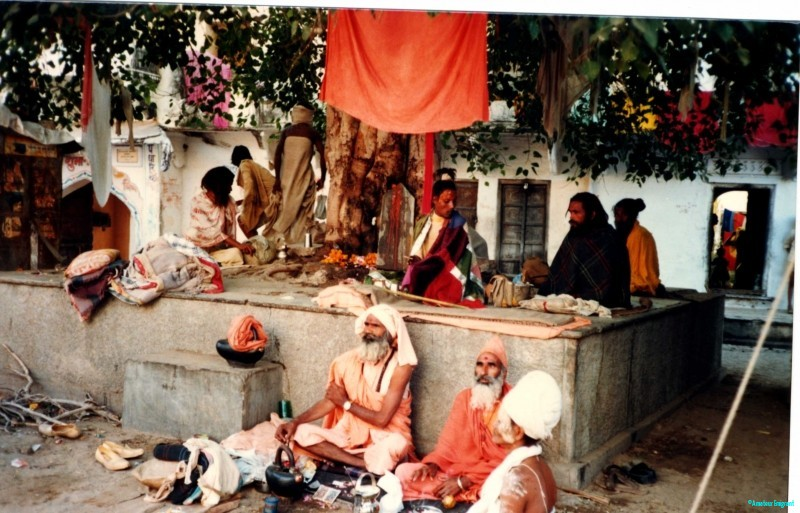 Groups of Hindu holy men gather beneath a tree, long beards, ash smeared on faces, sitting among a ragbag of belongings