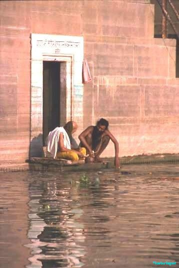Scripture students at the Ganges waterside