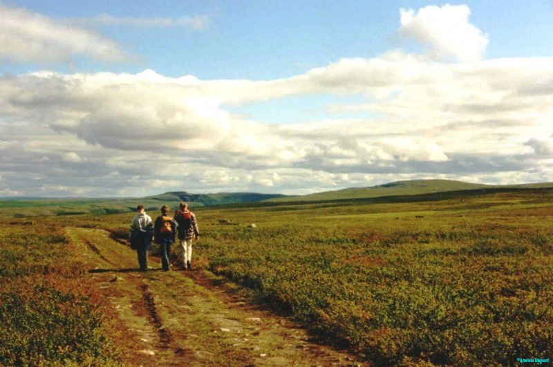 Three figures walking along a grassy track on a plateau stretching far into the distance