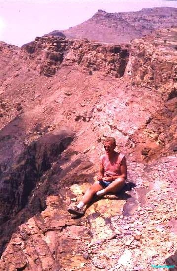 Selfie, above Petra, Jordan, rolling a fag