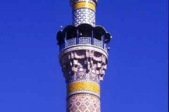 Minaret at Mosque dedicated to Zaynab, grand-daughter of the Prophet pbuh near Damascus. A modern Iranian built minaret at an ancient shrine.