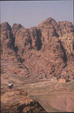 Punters enjoying a spectacular view over Petra, Jordan, in the n
