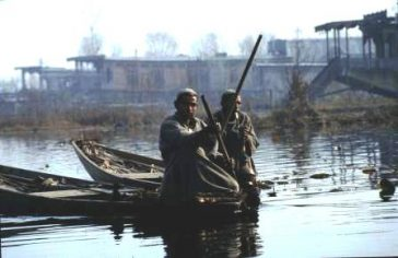 Shikhara boatmen on Dal Lake, Srinagar, Kashmir
