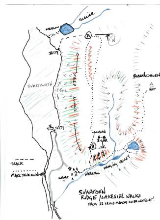 Svartisdal map drawn from 30 year old memory