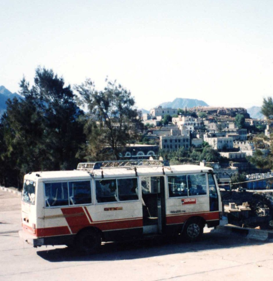 Our minibus at the Hajjah hotel, Yemen