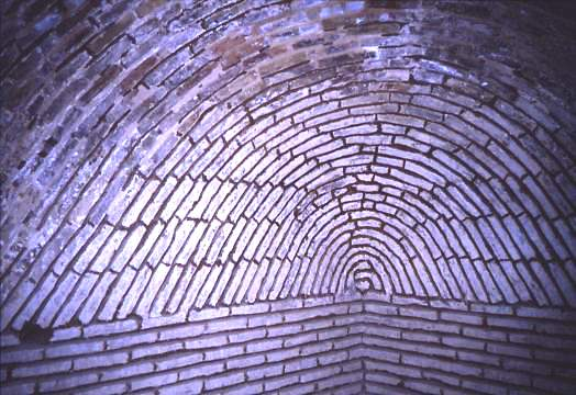 Interior brickwork of domed tomb