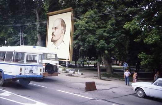 Broken down bus in front of Lenin