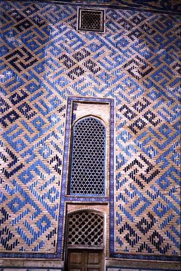 Window with tiled swastikas Bokhara