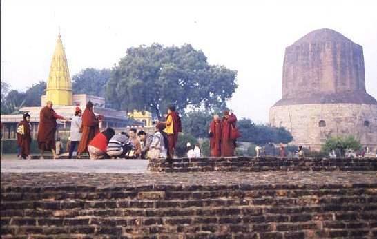 Monks and visitors at Sarnath. Varanasi,