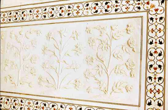 Detail, inlay and carving, Taj Mahal