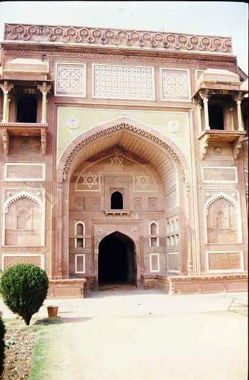 Entrance gate in red sandstone